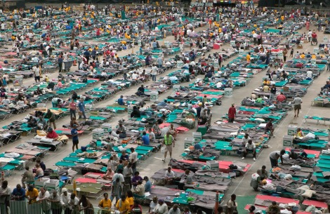 Houston,TX.,9/1/2005--Thousands of hurricane Katrina survivors from New Orleans are bussed to refuge at a Red Cross shelter in the Houston Astrodome. FEMA photo/Andrea Booher